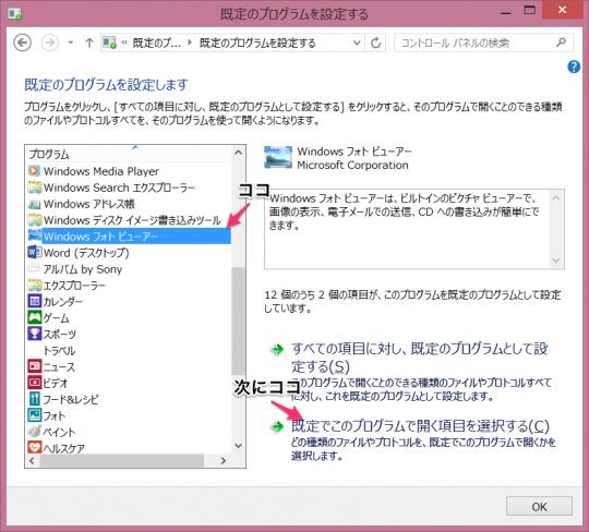 既定のプログラムを設定する画面