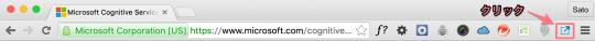 拡張機能のアイコンをクリックするところ
